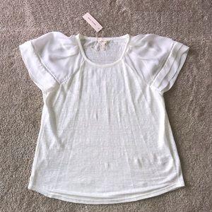 Rebecca Taylor Jersey Knit Shirt 100% Silk Sleeves
